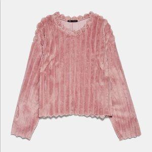 Zara Faux Fur Pink Sweater Small